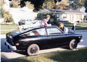 Barb & I with our first set of wheels. We were styling!