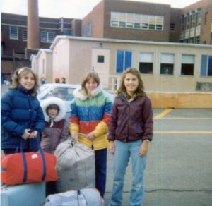 Speaking of 6th grade camp...here are a few of us getting ready to board the bus to go to camp.